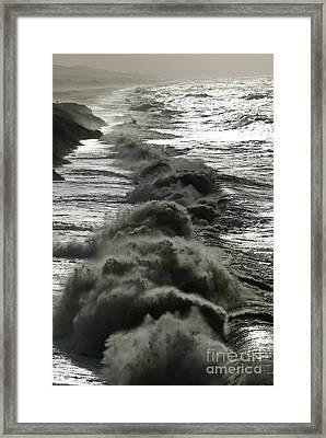 Storm Waves, Dorset Coast Framed Print by Adrian Bicker
