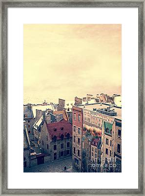 Streets Of Old Quebec City Framed Print by Edward Fielding