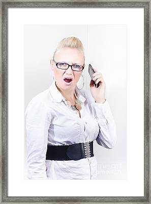 Stressed Employee Communicating In Workplace Framed Print by Jorgo Photography - Wall Art Gallery