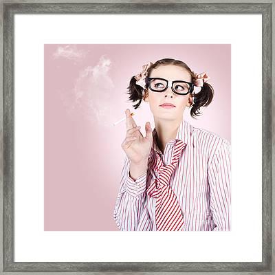 Stressed Geeky Office Worker On Smoke Break Framed Print by Jorgo Photography - Wall Art Gallery