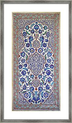 Sultan Selim II Tomb 16th Century Hand Painted Wall Tiles Framed Print by Ralph A  Ledergerber-Photography