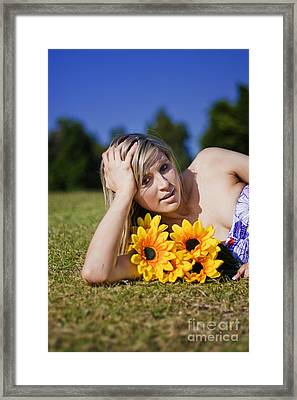 Summer Sun Flowers Woman Framed Print by Jorgo Photography - Wall Art Gallery