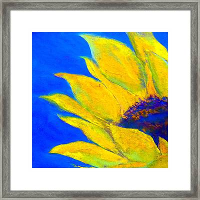 Sunflower In Blue Framed Print by Sue Jacobi
