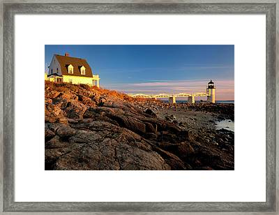 Sunset At Marshall Point Lighthouse Framed Print by Brian Jannsen