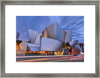 Sunset At The Walt Disney Concert Hall In Downtown Los Angeles. Framed Print by Jamie Pham