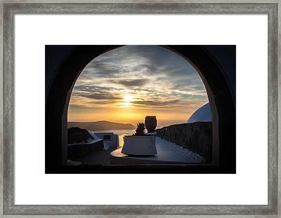 Sunset In Santorini Framed Print by Panagiotis Assonitis