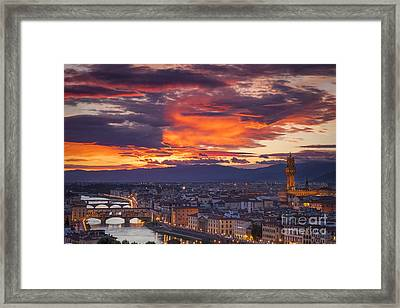 Sunset Over Florence Framed Print by Brian Jannsen