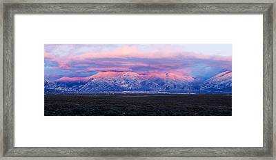Sunset Over Mountain Range, Sangre De Framed Print by Panoramic Images