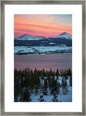 Sunset Over The Dillon Reservoir Framed Print by Jim West