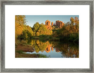 Sunset, Reflections, Oak Crek Framed Print by Michel Hersen