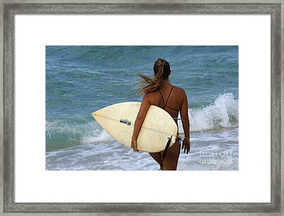 Surfer Girl Framed Print by Bob Christopher