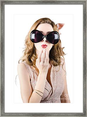 Surprised Beautiful Pin-up Girl. White Background Framed Print by Jorgo Photography - Wall Art Gallery