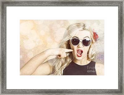 Surprised Blonde Woman With Retro Hair And Makeup Framed Print by Jorgo Photography - Wall Art Gallery