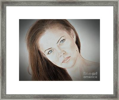 Actress And Model Susan Ward Blue Eyed Beauty With A Mole Framed Print by Jim Fitzpatrick