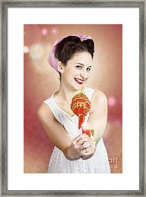 Sweet As Sugar Lollipop Pinup Woman Offering Candy Framed Print by Jorgo Photography - Wall Art Gallery
