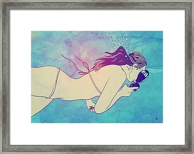 Swimming Girl Framed Print by Giuseppe Cristiano