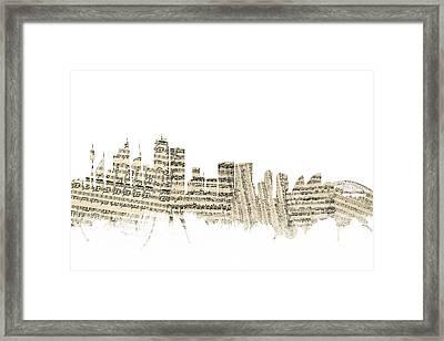 Sydney Australia Skyline Sheet Music Cityscape Framed Print by Michael Tompsett