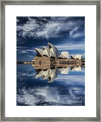 Sydney Opera House Reflection Framed Print by Avalon Fine Art Photography