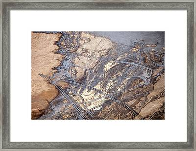 Tailings Pond At A Tar Sands Mine Framed Print by Ashley Cooper