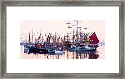 Tall Ship In Douarnenez Harbor Framed Print by Panoramic Images