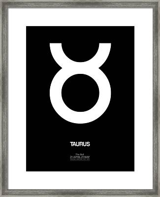 Taurus Zodiac Sign White Framed Print by Naxart Studio