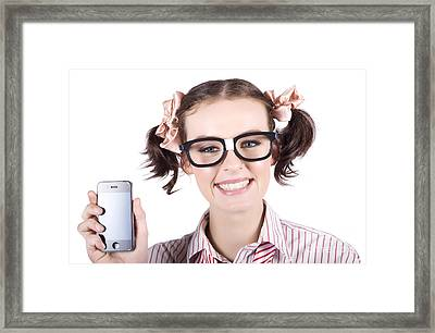 Technology Savy Business Woman With Mobile Phone Framed Print by Jorgo Photography - Wall Art Gallery