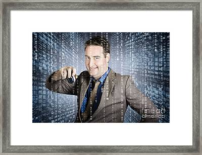 Technology Smart Business Man Using Computer Mouse Framed Print by Jorgo Photography - Wall Art Gallery