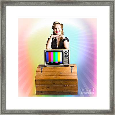 Technology Smart Pinup Woman On Retro Color Tv Framed Print by Jorgo Photography - Wall Art Gallery