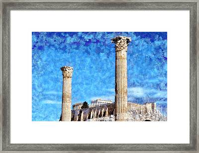 Temple Of Olympian Zeus And Acropolis Framed Print by George Atsametakis