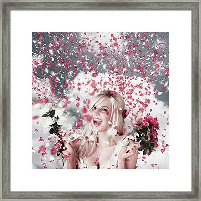 Tender Woman With Flowers. Romantic Celebration Framed Print by Jorgo Photography - Wall Art Gallery