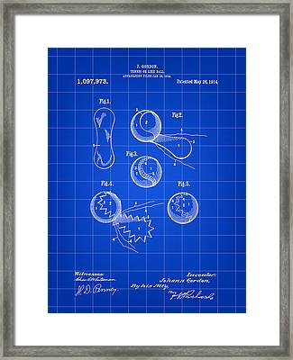 Tennis Ball Patent 1914 - Blue Framed Print by Stephen Younts