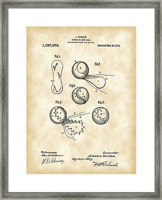 Tennis Ball Patent 1914 - Vintage Framed Print by Stephen Younts