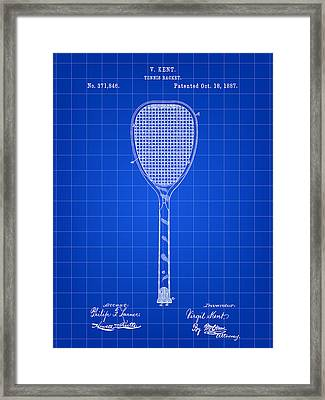 Tennis Racket Patent 1887 - Blue Framed Print by Stephen Younts
