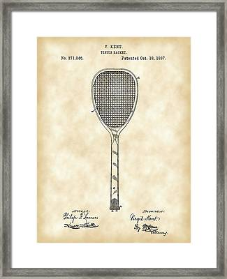 Tennis Racket Patent 1887 - Vintage Framed Print by Stephen Younts