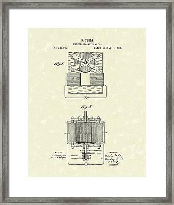 Tesla Motor 1888 Patent Art Framed Print by Prior Art Design