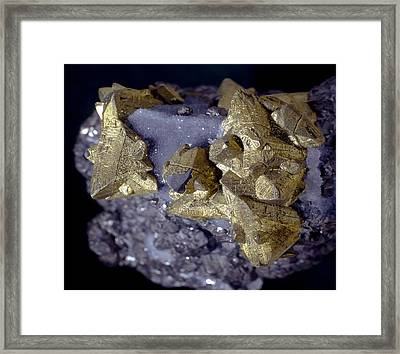 Tetrahedrite Framed Print by Science Photo Library