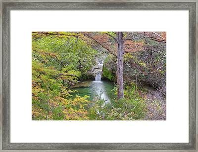 Texas Hill Country Images - Twin Falls In Autumn At Pedernales F Framed Print by Rob Greebon