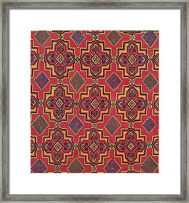 Textile With Geometric Pattern Framed Print by Moroccan School
