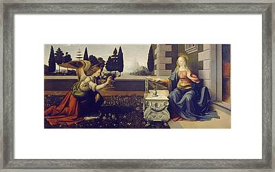 The Annunciation Framed Print by Leonardo Da Vinci