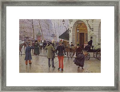 The Boulevard Des Capucines And The Vaudeville Theatre Framed Print by Jean Beraud