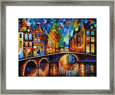 The Bridges Of Amsterdam Framed Print by Leonid Afremov