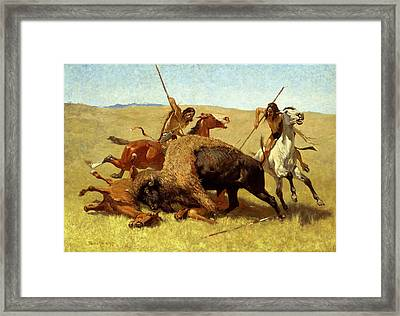 The Buffalo Hunt Framed Print by Frederic Remington