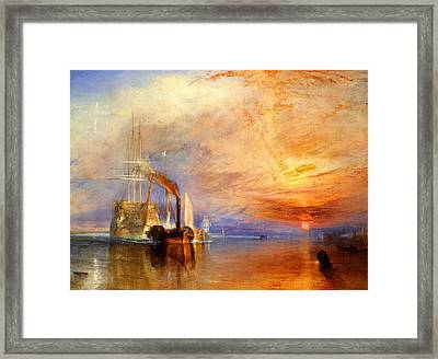 The Fighting Temeraire Tugged To Her Last Berth To Be Broken Up Framed Print by J M W Turner