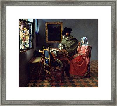 The Glass Of Wine Framed Print by Johannes Vermeer