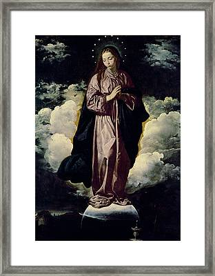The Immaculate Conception Framed Print by Diego Rodriguez de Silva y Velazquez