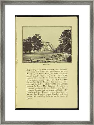 The Lawn Of Down House Framed Print by British Library