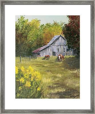 The Old Cow Barn Framed Print by Bev Finger