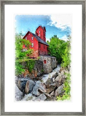 The Old Red Mill Jericho Vermont Framed Print by Edward Fielding