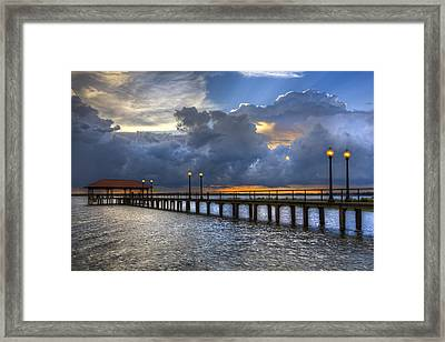 The Pier Framed Print by Debra and Dave Vanderlaan