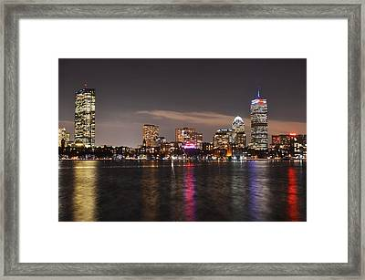 The Prudential Lit Up In Red White And Blue Framed Print by Toby McGuire